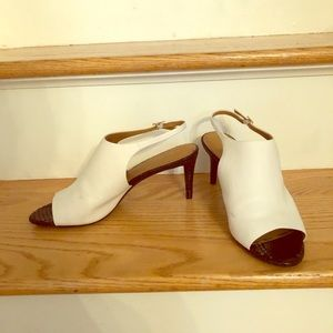Calvin Klein black and white open toe booties sz 9